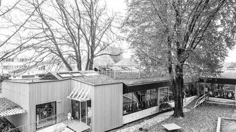 Freilichtklassen auf dem Dach im Schatten alter Baumkronen und umgeben von artenreichen Blumenwiesen,  Lauterach AT